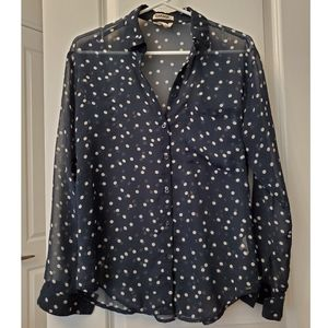 2/$20 🟠 Dark blue polka dot chiffon blouse